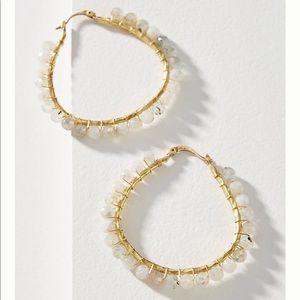 Anthropologie Cleo Bead Hoop Earrings Brand New